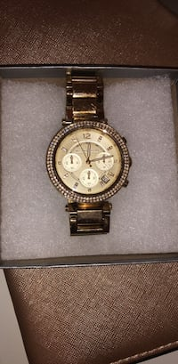 Gold michael kors watch with diamonds Toronto, M9B 4S5