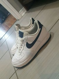 White/Navy blue Nike Air Force 1s