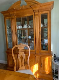 China with table and 6 chairs. Solid wood. Table also has 2 extensions for big holiday gatherings. Moving sale- Matawan, 07747
