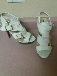 pair of white leather open-toe ankle strap heels Avondale, 85392