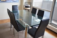 Rectangular glass top table with six chairs dining set