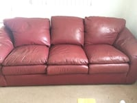 Burgundy leather 3-seat sofa and love seat. great condition. Re-stuffed and conditioned at Leather Gallery Brett Interiors.