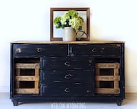 Refinished black farmhouse buffet console sideboard dresser with crates  Camden Wyoming, 19934
