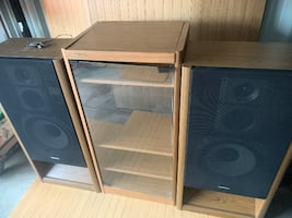 Vintage Technics Speaker System with wood cabinet with glass