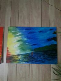 blue. yellow, green, and red abstract painting