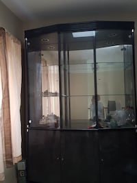Black framed glass display cabinet Central Islip, 11722