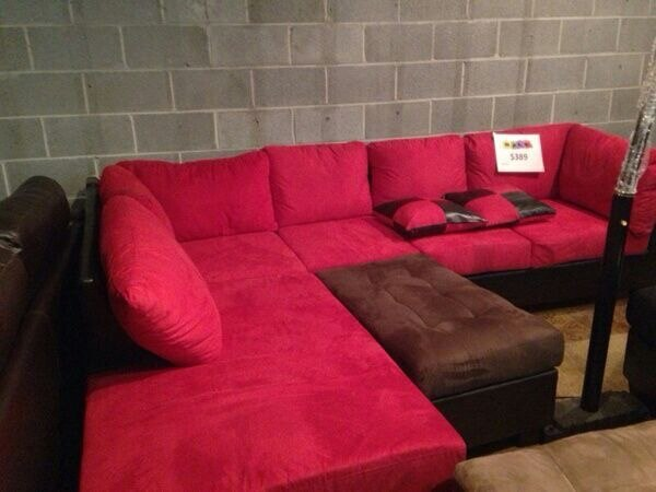 Red microfiber with black leather base sofa sectional