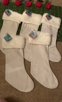 "5- white Faux Fur linen stocking 8.5""x 21"" are TV 1999 each asking $10 Derry, 03038"