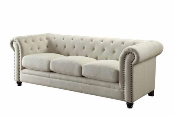 Used tufted white leather tufted sofa for sale in Dallas - letgo