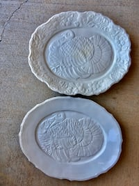 2 Decorative & Functional Turkey Holiday Platters-$15 Each/Both $23