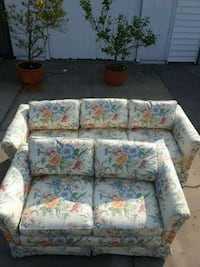 white and pink floral fabric 3-seat sofa 2412 mi