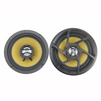 two round black-and-yellow subwoofers MONTREAL