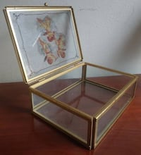 VINTAGE SOLID GLASS CHERUB JEWELRY/TRINKET BOX FROM SPAIN Austin