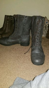 pair of gray leather boots