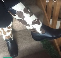 Black Leather Boots w Cow Hide Hair Wilson, 27896