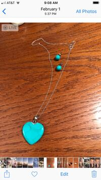Sterling and turquoise necklace and earrings  Gaithersburg, 20877