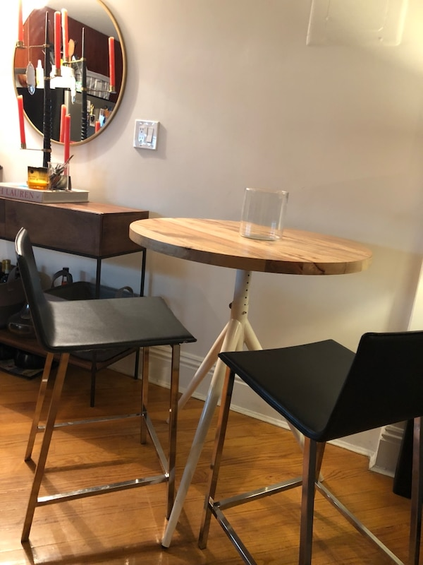 West Elm Bistro Table And Cb2 Leather Stills