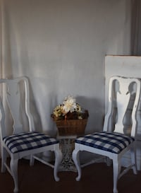 4 blue and white buffalo check, distressed dining chairs.  200.00 for all 4 Thornton, 80602