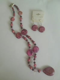 pink beaded necklace and pair of pendant earrings Rochester, 14609