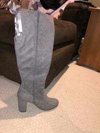 pair of gray suede knee high boots Maple Ridge, V2W 0B3