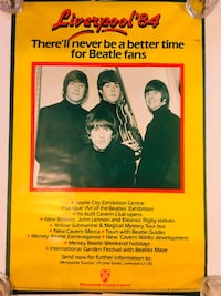 """RARE HTF Vintage Beatles Liverpool '84 Promotional Poster 30"""" x 20"""" Excellent FREE SHIPPING  Edgewood, 21040"""