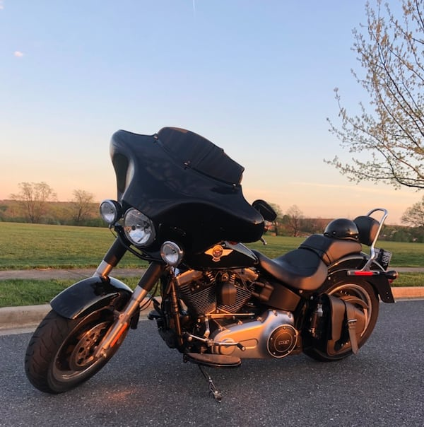 2016 Harley Davidson FatBoy Lo w/Street Glide style front fairing.  2cf2fbe0-e978-455a-92c6-8d719976787f