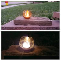 Vintage glass reclaimed wood candle holder Omaha, 68154