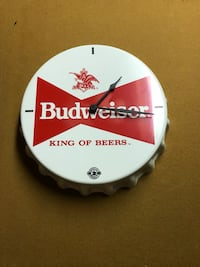 white and red Budweiser bottle cap analog wall clock Union Bridge, 21701