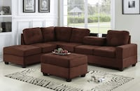 brown fabric sectional sofa with ottoman Houston, 77095