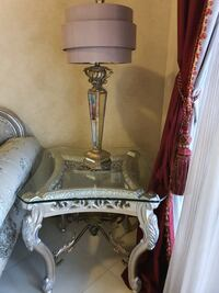 Beautiful intricate side table + lamp!