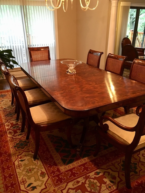 Used Theodore Alexander Dining Set W 12 Chairs 2 Leaves Buffet