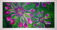 Purple Flower Painting, Green Background On Canvas - $20 Washington