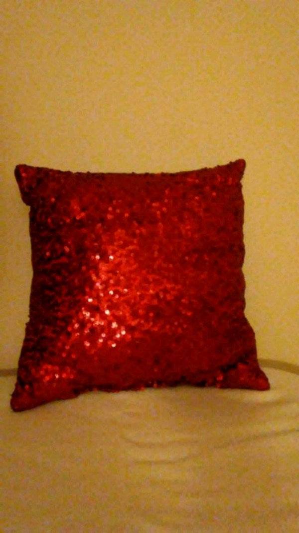 Decorative Red Sequined Pillow