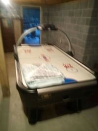 Air hockey table pool table and foosball dining table chairs hutch