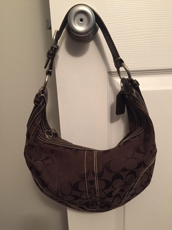 e1753770a1 Used Coach Signature Small Round Hobo Purse in Brown for sale in Somerville  - letgo