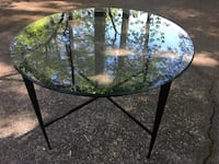 Round beveled glass top table w/ black metal frame Woodstock, 30188