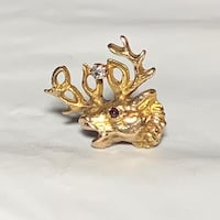 Vintage 10k Yellow Gold Genuine Diamond Elk Pin Ashburn