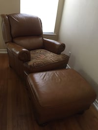 Be prepared to chill!! Leather Recliner with ottoman.  Really comfortable recliner, has a new bottom cushion.