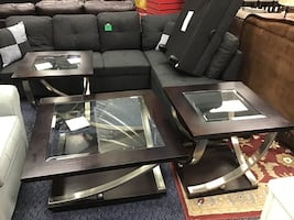 3pc Wooden & Glass Top Coffee Table Set
