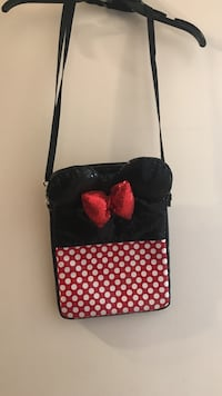 white, red, and black Minnie Mouse themed crossbody bag