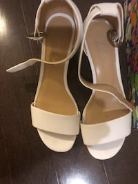 pair of white leather open-toe ankle strap heels Richmond Hill, L4E 0Z6
