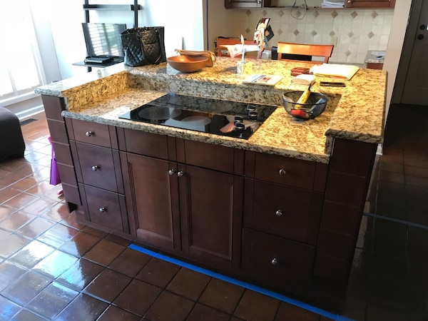 Used Kitchen island, cabinets, and stove top. Dimensions ...