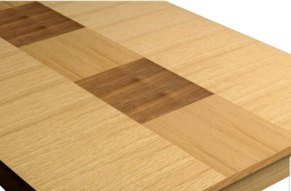 brown wooden table with white wooden base