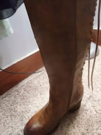 unpaired brown leather side-zipped round toe chunky heel knee-high boot Topeka, 66608
