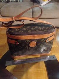 Black and brown leather sling bag Toronto