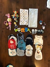 Baby boy blankets, musical you, bibs and hat  lot