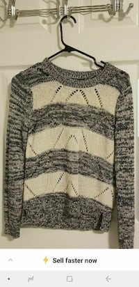 white and space-dye black striped crew-neck sweater Calgary, T2N 4N8