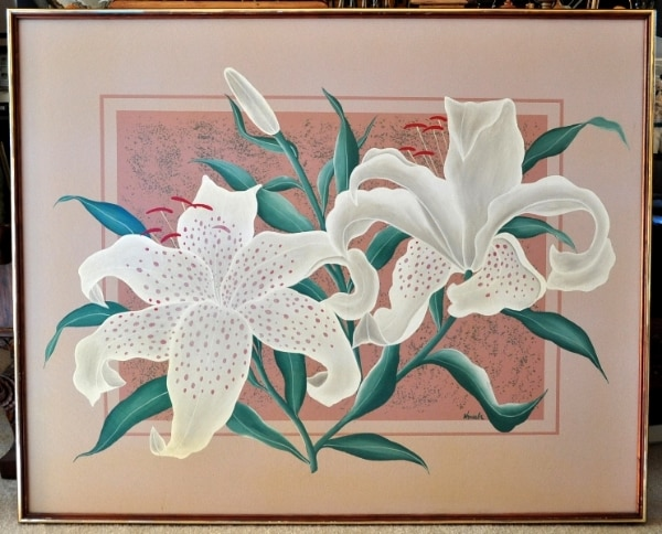 """Original oil painting (51""""x41"""") of white lily flower artwork"""
