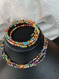 Multi coloured beads necklace & bracelet set