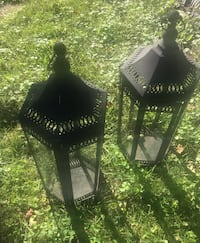 2 Tall Black Lanterns - metal and glass Sterling, 20164